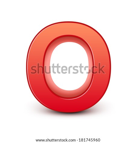 3d red letter O isolated white background - stock photo