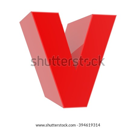 3d red letter V collection on white background - stock photo