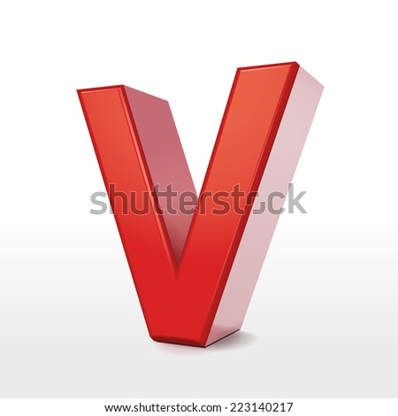 3d red letter V isolated on white background
