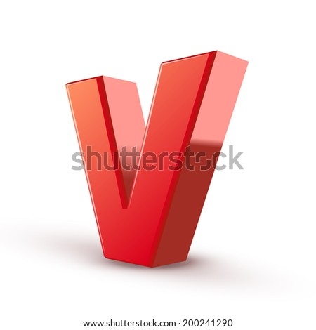 3d red letter V isolated white background