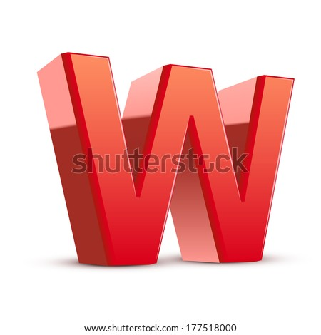 3d red letter W isolated white background - stock photo