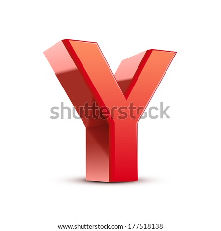 3d red letter Y isolated white background - stock photo