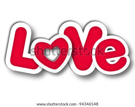 3d red letters with text - Love, isolated with shadow - stock photo