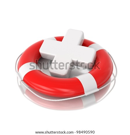 3d red lifebuoy with white medical cross isolated on mirror floor - stock photo