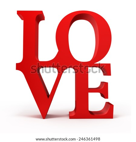 3d red LOVE text - stock photo