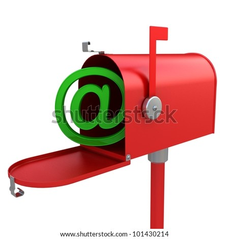 3d red mailbox with e-mail logo inside - stock photo