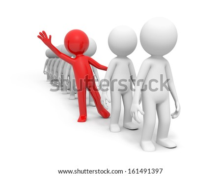 3d red man , person waving his hand in the group line