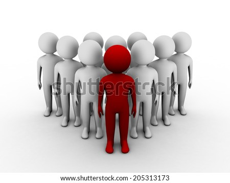 3D red man standing out of crowd. 3d illustration of leadership concept