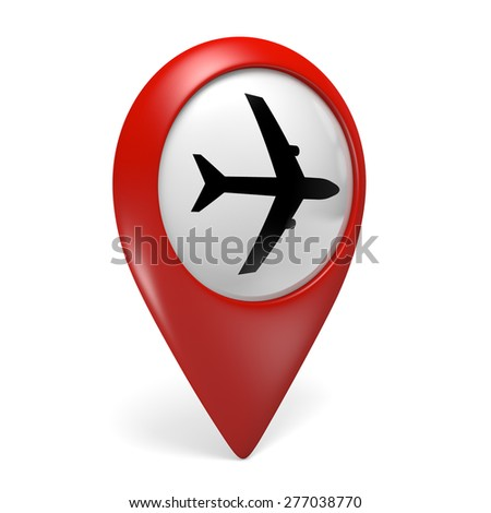 3D red map pointer icon with a plane symbol for airports - stock photo