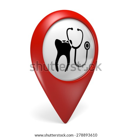3D red map pointer icon with a tooth symbol for dentist clinics - stock photo