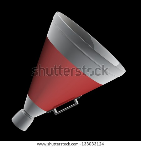 3d red megaphone isolated on black background