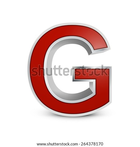3d red metallic letter G isolated on white background - stock photo