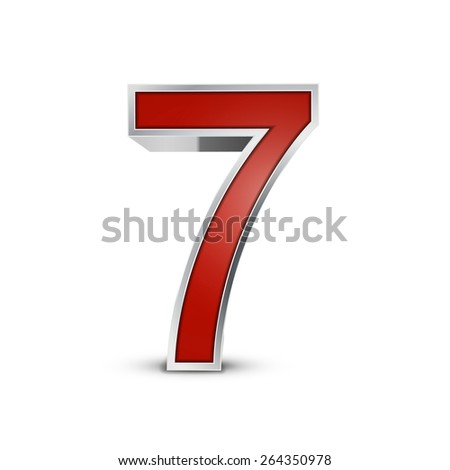 3d red metallic number 7 isolated on white background - stock photo