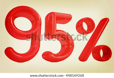 "3d red ""95"" - ninety five percent on a white background. 3D illustration. Vintage style."