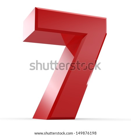 3D Red Number Collection 7 - stock photo