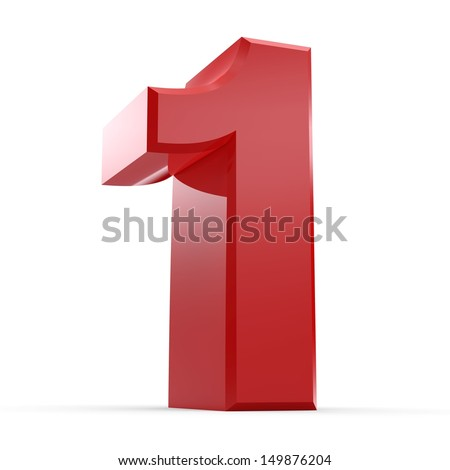 3D Red Number Collection 1 - stock photo