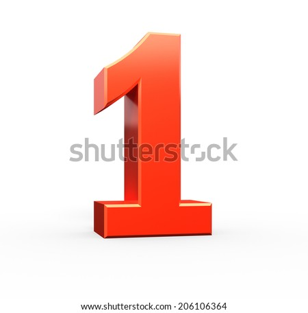 3d red number collection - 1 - stock photo