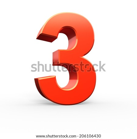 3d red number collection - 3 - stock photo