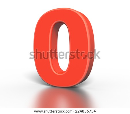 3d red number collection - 0 - stock photo