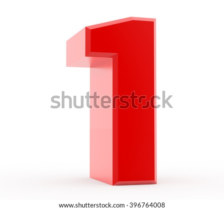 3d red number 1 collection on white background - stock photo