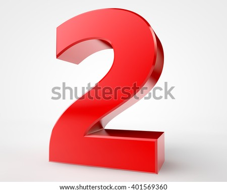 3d red number 2 collection on white background illustration 3D rendering - stock photo