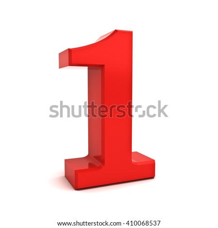 3D red number one isolated over white background. 3D rendering.