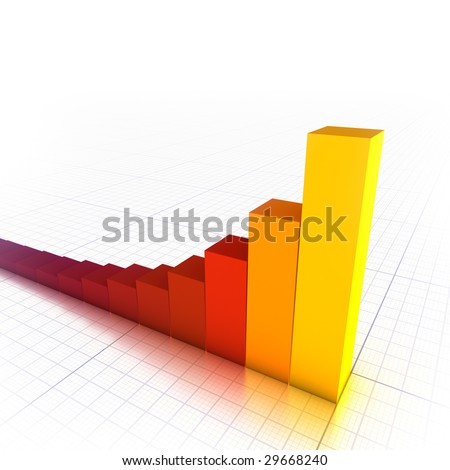 3D red/orange bar graph - stock photo