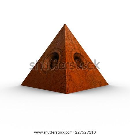 3d red orange pyramid grunge old speaker sound system  - stock photo
