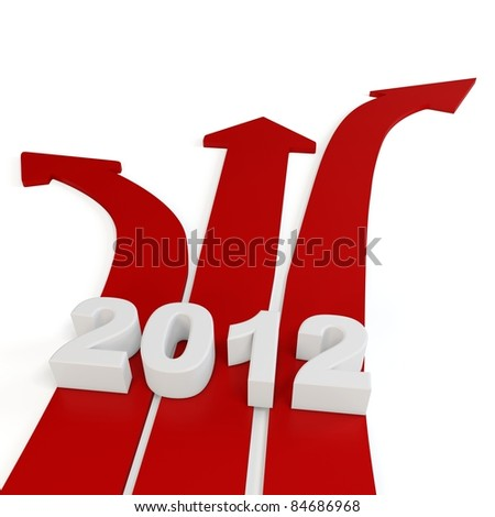 3d red path arrows with 2012 on white background