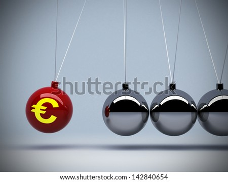 3d red pendulum euro sign about investment money impact art abstract background concepts - stock photo