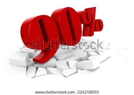 3d red percent discount on white