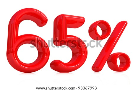 3d red 65 percent on a white background