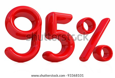 3d red 95 percent on a white background