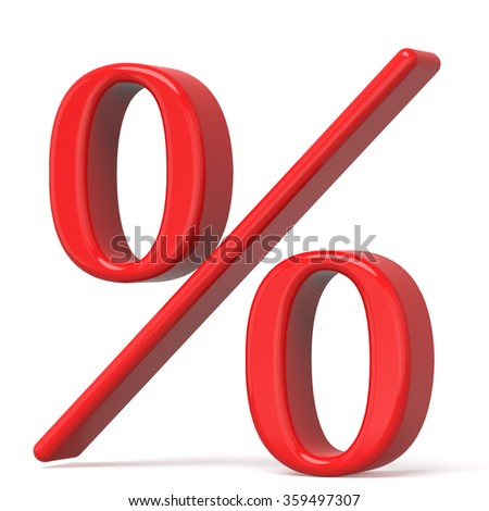 3d red percent sign isolated on white background