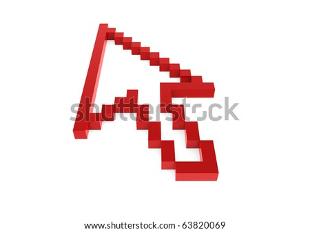 3d red pixel arrow high left isolated on white background - stock photo