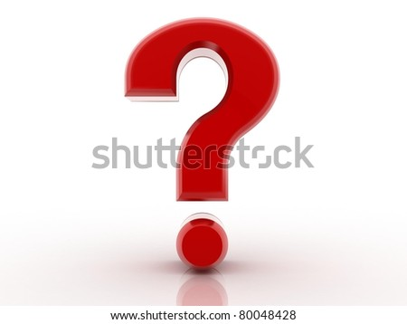 3D red question mark  isolated on white - stock photo