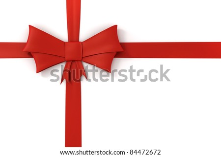 3d red ribbon, decorations - stock photo
