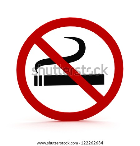 3D Red round no smoking Sign on white background - stock photo