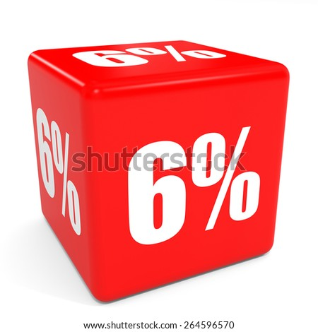 3D red sale cube. 6 percent discount. Illustation. - stock photo