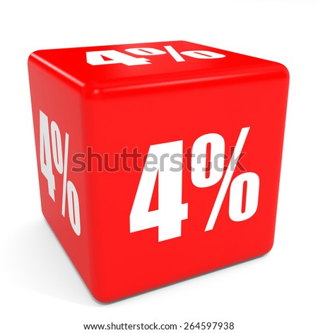 3D red sale cube. 4 percent discount. Illustation. - stock photo