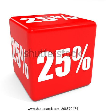 3D red sale cube. 25 percent discount. Illustation. - stock photo