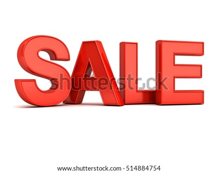 3d red sale word isolated over white background with reflection and shadow. 3D rendering.