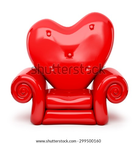 3d red sofa on heart shape isolated on white - stock photo