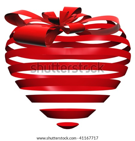 3D red striped heart isolated on white background with a red ribbon - stock photo