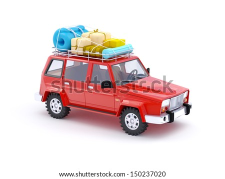 3d red SUV adventure with roof rack - stock photo