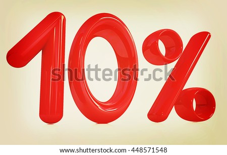"3d red ""10"" - ten percent on a white background. 3D illustration. Vintage style. - stock photo"