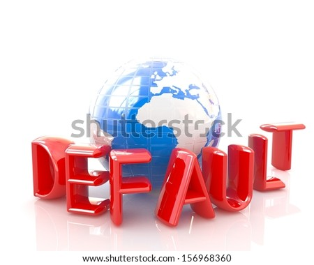 "3d red text ""default"" around earth on a white background - stock photo"