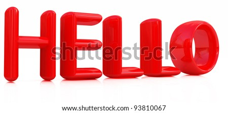 "3d red text ""hello"" - stock photo"