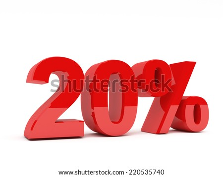 3d red text of discount sale on white - stock photo