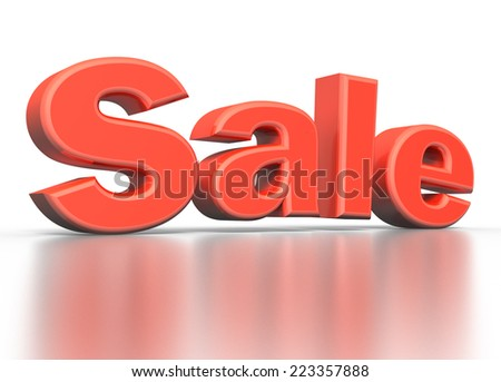 3D red text SALE on white background